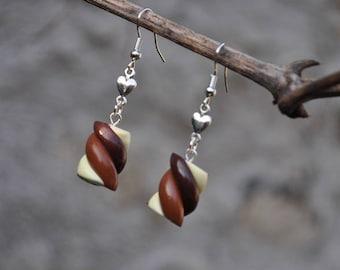 "Earrings ""chocolate Marshmallow trio"" Fimo"