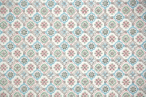 1940s Vintage Wallpaper By The Yard Pink Blue And White