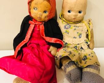 Vintage Handmade Dolls - Very OLD Dolls - Vintage Toy - Primitive Fabric Doll