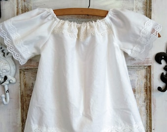 White Cotton Boho Baby Dress | Size 12 to 18 Months | White Photo Shoot Dress | Washed Cotton Boho Dress  Ellie Ann and Lucy