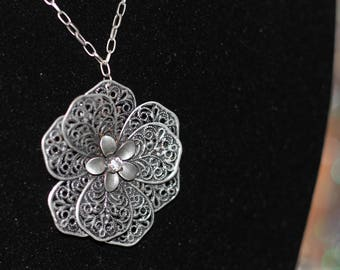 Silver Floral Round Long Necklace