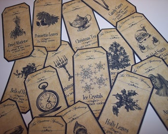 Steampunk Christmas Apothecary Labels Set of 15