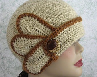 Crochet Hat Pattern Womens Flapper Style With Petal And Button Trim Instant Download
