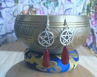 Pentacle earrings with red stone pendant