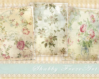 Vintage shabby flower gift cards tags Greeting cards on Digital collage sheet