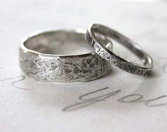 rustic wedding band ring set . custom recycled silver wedding rings . engraved inscription . river rock wedding rings