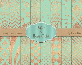"Mint and Rose Gold Digital Paper: ""Mint and Rose Gold Foil Patterns"" Mint and rose gold scrapbook paper, rose gold foil"