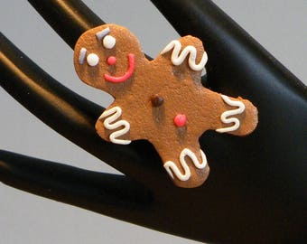 Gingerbread boy Fimo ring