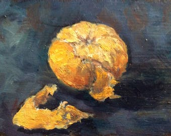 Tangerine Painting Original Oil  Painting 4 x 6""