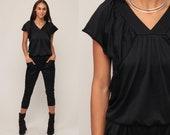 Black Jumpsuit 70s Pantsuit Slim Skinny Pants Vintage Disco Romper Pants 80s Flutter Sleeve Boho Cropped Capri Onesie Retro Small