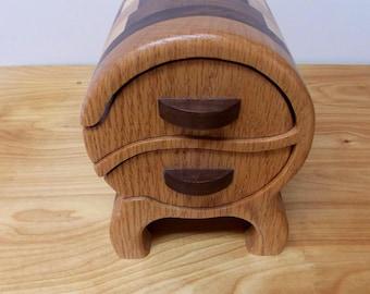 Small Jewelry Box, Bandsaw Keepsake Oak, Maple and Walnut Jewelry Box 2 Drawers, Ring Box, Key Box,