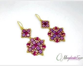 Blossom earrings pattern with honeycomb beads swarovski and superduo