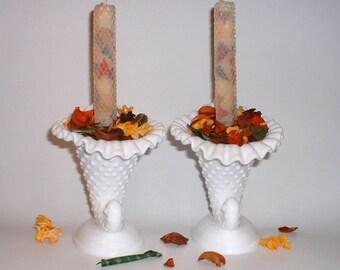 Fenton Hobnail Milk Glass Cornucopia Candle Stick Holder //  Hobnail Milk Glass Cornucopia // Fenton Milk Glass Candle Holder // Set of 2