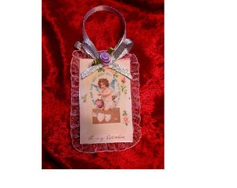 Vintage Style Victorian Valentines Day Holiday Card Tree Ornament - Pink Lace
