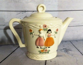 Porcelier Vitreous Teapot, Ironstone Dutch Boy and Girl, Hand Decorated Tea Service, Country Decor, Cottage Style