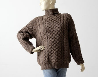 vintage Irish wool sweater, brown chunky knit turtleneck jumper