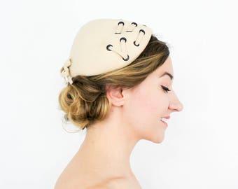 50s Beige Wool Felt Hat | 100% Hampshire Wool
