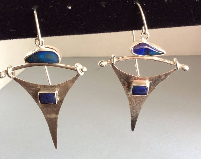 Designer Sterling Silver and Australian Opal Earrings