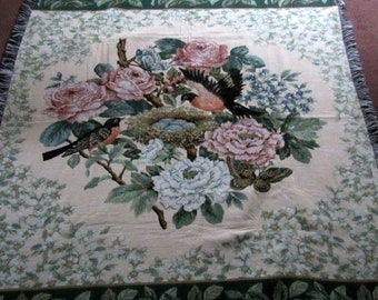 "Vintage Acrylic Throw Blanket Large 52""x60"" Robin's Egg Nest with Roses Mint Condition Never Used Lovely Colors Mohawk Textiles 1980s"