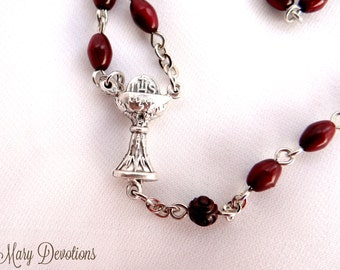 Abide in Me Brown Coco Wood Rosary