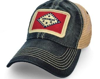 Arkansas Flag Patch Trucker Hat, Black