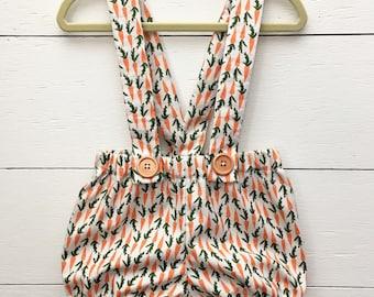 Garden and Grow Suspender Shorties - Carrot Shorties - Easter Shorties