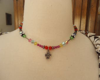 Vintage Lampwork Glass and Swarovski Crystals Necklace w/ Sterling Silver Accents and Reversible Cross Pendant