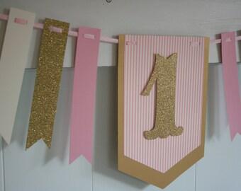 1st Birthday Banner - Pink and Gold Banner - Photo Prop - Birthday Garland - Glitter Banner - One Bannenr