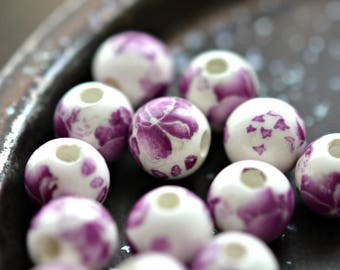 NEW! China Girl - Porcelain, Ceramic Beads, Opaque White, Purple, Flower Rounds 10mm - Pc 6