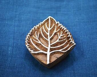 Leaf Stamp, Wooden Stamp - Hand Carved Indian Wood Block Textile Stamps - Fabric Stamp - Textile Printing Block, Stamp Blocks