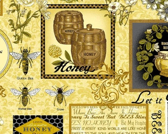 A cute fabric with all things related to honey bees.