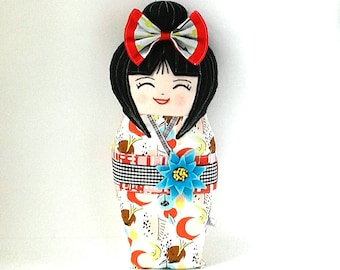 Kokeshi Plush, Handmade Kokeshi Doll, Asian Doll, Collectable Doll, Smilling Doll, Folk Doll