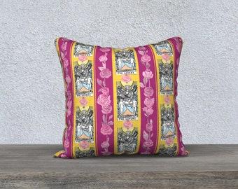 "18""x18"" - Throw Cushion Cover - Floral Tarot Print - The Lovers"