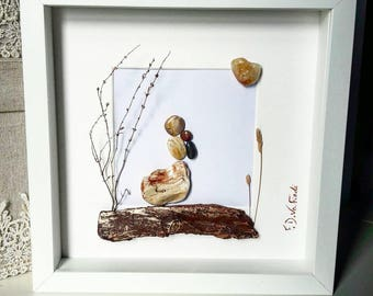 Pebble Art Frame, Mother With Her Baby, Love Gift,Mother's Love , DriftWoodFDVafiadi