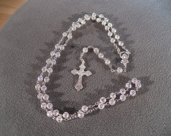 Vintage Silver Tone Etched Fancy Filigree Round Bead Rosary Cross