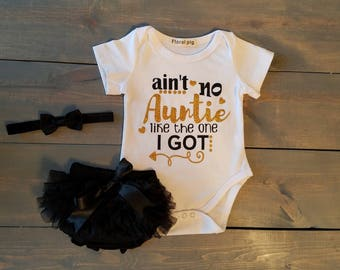 Infant Baby Girl Auntie Outfit 3 Piece Set, TUTU, Romper, Diaper Cover  #G-10