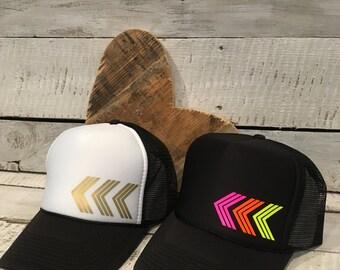 Chevron Trucker Hat, Womens Trucker Hat, Cute Chevron Hat, Chevron Hat, Chevron Arrow Hat