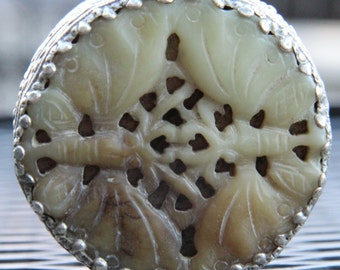 Beautiful Vintage Chinese Jade and Silver Trinket Box.