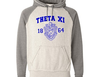 Theta Xi Vintage Heather Hooded Sweatshirt - Royal Print (unless noted otherwise)