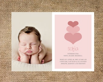 Birth announcement girl, photo card, pink hearts, personalized and printable