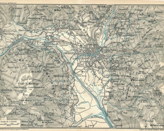 1927 Merano Italy Antique Map