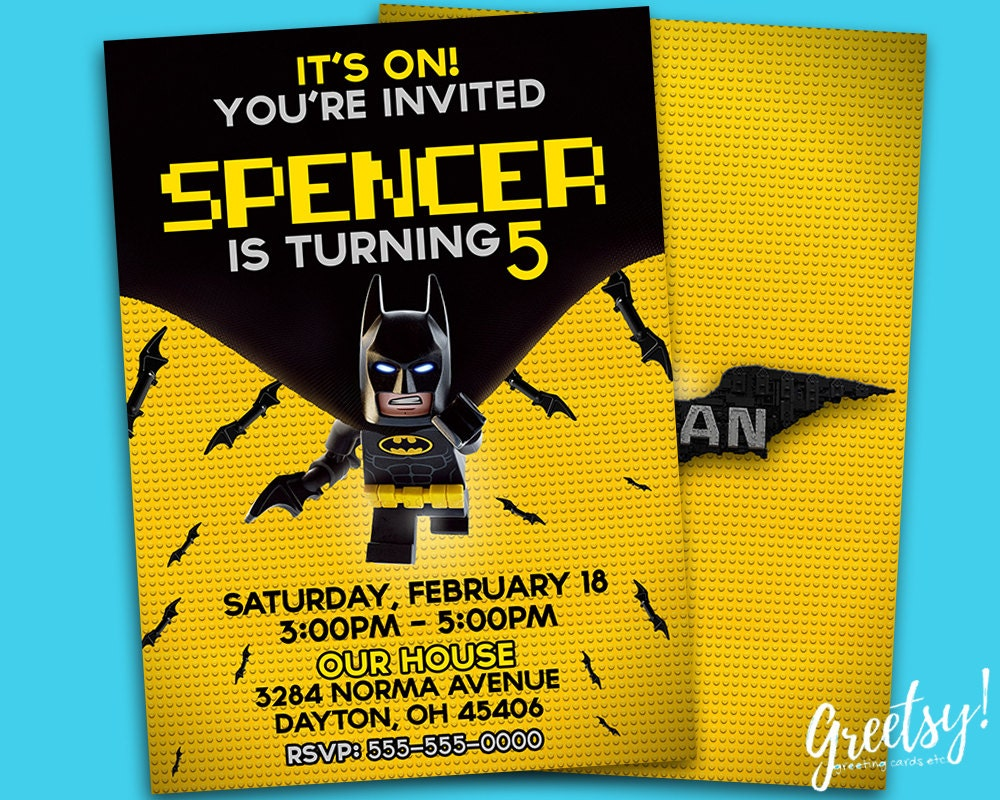 The Lego Batman Invitation The Lego Batman Birthday The Lego