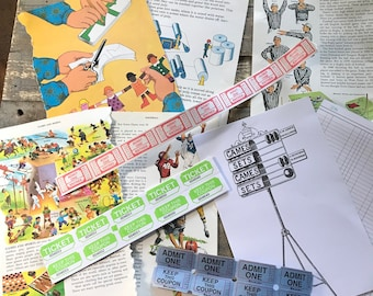Games We Play Pack of Bits & Bobs for Scrapbook Collage Junk Journal Mixed Media Creativity