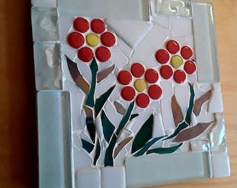 Coasters, handmade flower glass mosaic coasters, flower coasters, house warming gift