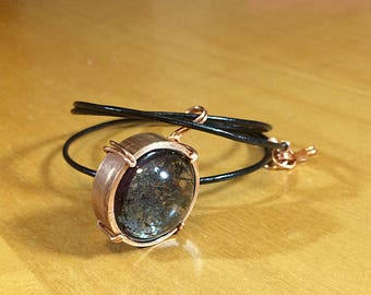 Copper Pipe and Resin Pendant Necklace