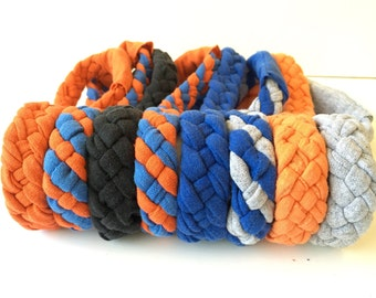 OKC Thunder Basketball Headband, Braided Blue Orange Recycled T-shirts, Running Headband, Athletic wear, Eco-friendly Upcycled Repurposed