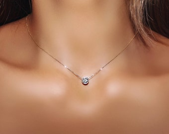 Half Carat Solitaire Diamond Necklace