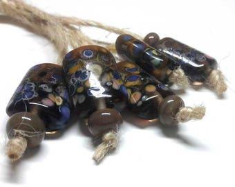 Lampwork beads handmade Beads supplies jewelry Beads for jewelry making Murano beads Set beads Beads SRA Beads mustard,green, blue, violet.