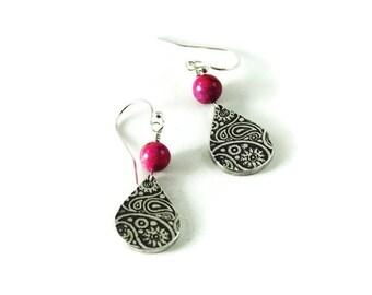 Boho paisley earrings - tear drop earrings -