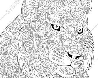 Tiger. Coloring Page. Animal coloring book pages for Adults. Instant Download Print